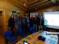 Foto de grupo de los miembros de Conservatoire du littoral en Campanarios de Azaba.